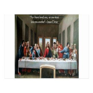 """Cartão Postal Última ceia """"amor um outro"""" de Jesus @ citações"""