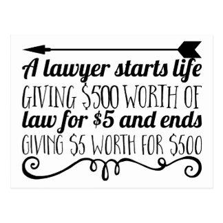 Cartão Postal Um advogado começa vida que dá a $500 o valor da