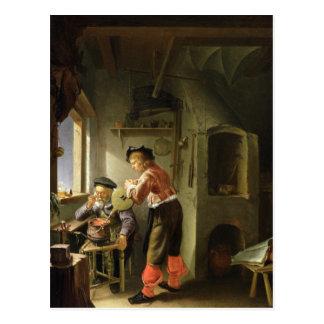 Cartão Postal Um alquimista e seu assistente em sua oficina