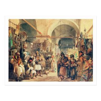 Cartão Postal Um bazar turco, 1854 (lápis & w/c no papel)