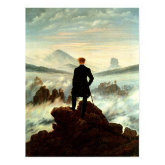 Cartão Postal Um caminhante solitário acima das nuvens