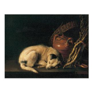 Cartão Postal Um cão do sono com o pote do Terracotta por Gerrit