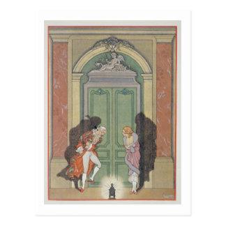 Cartão Postal Um casal na luz de vela, ilustração 'de Les Li