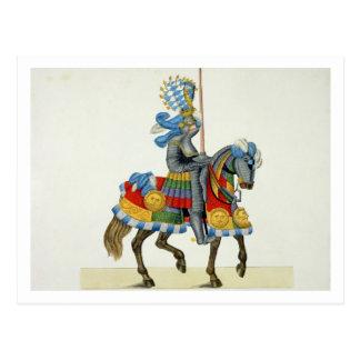 Cartão Postal Um cavaleiro em sua maneira a um competiam, placa