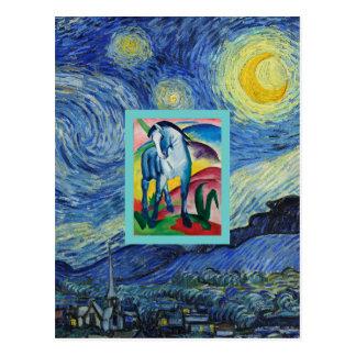 Cartão Postal Um cavalo azul na noite estrelado