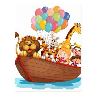 Cartão Postal Um cheio do barco dos animais