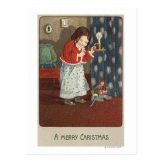 Cartão Postal Um ChristmasGirl alegre que guardara um castiçal