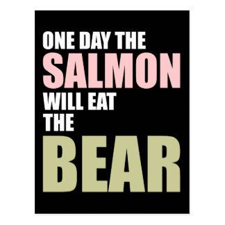 Cartão Postal Um dia os salmões comerão o urso