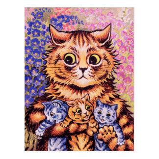 Cartão Postal Um gato com seus gatinhos por Louis Wain