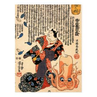 Cartão Postal Um gato vestido como uma mulher que bate a cabeça