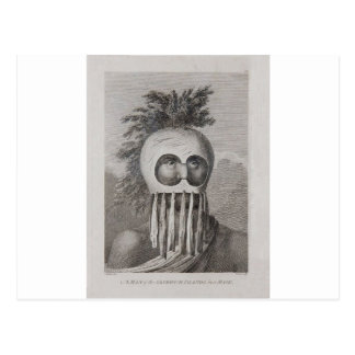 Cartão Postal Um homem das ilhas de sanduíche em uma máscara
