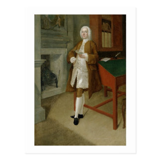 Cartão Postal Um homem desconhecido em uma biblioteca, c.1740-41