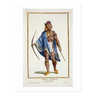 Cartão Postal Um indiano nobre da nação de Ottawa, 1780 (colou