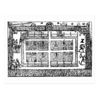 """Cartão Postal Um jardim, """"do labirinto do jardineiro"""", 1577 ("""