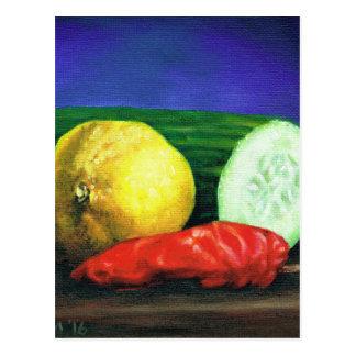 Cartão Postal Um limão e um pepino