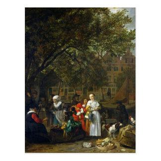 Cartão Postal Um mercado da erva em Amsterdão