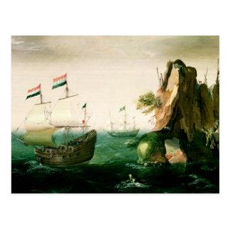 Cartão Postal Um navio mercante holandês fora de uma costa