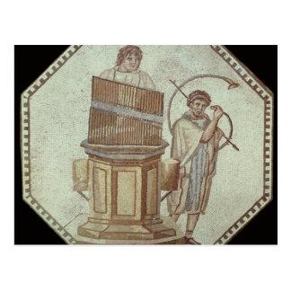 Cartão Postal Um organista e um jogador de chifre entertain