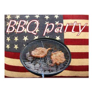 Cartão Postal Um partido americano do CHURRASCO