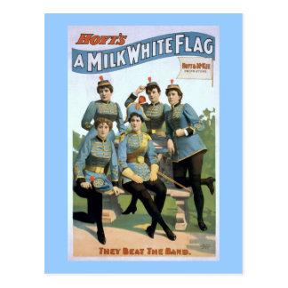 Cartão Postal Um poster do teatro do vintage da bandeira branca