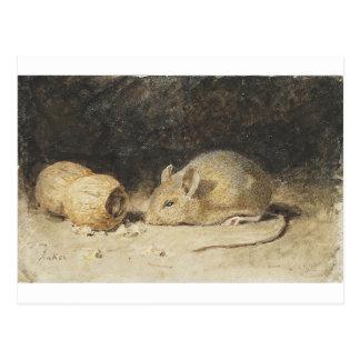 Cartão Postal Um rato com um amendoim por Albert Anker