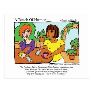 """Cartão Postal """"Um toque massagem do Anesthesiologist do humor"""""""