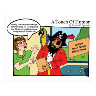 """Cartão Postal """"Um toque massagem do pirata do humor"""" cómica"""