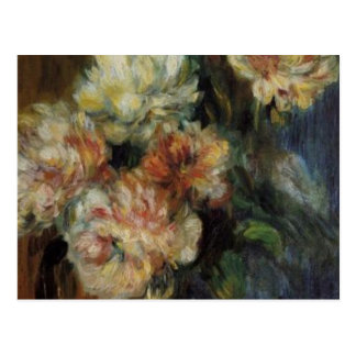 Cartão Postal Um vaso de Renoir das peônias