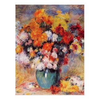 Cartão Postal Um vaso de Renoir das tulipas e das anêmonas