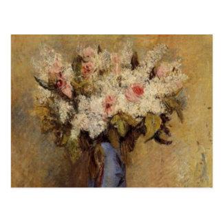 Cartão Postal Um vaso de Renoir dos Lilacs e dos rosas