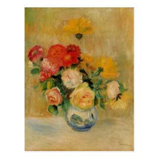 Cartão Postal Um vaso de Renoir dos rosas e das dálias