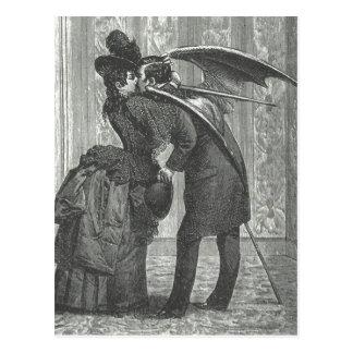 Cartão Postal Um Victorian do beijo/vampiro voado gótico