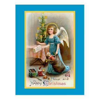 """Cartão Postal """"Um vintage do Natal santamente e feliz"""""""
