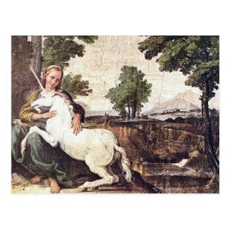 Cartão Postal Um Virgin com um unicórnio por Domenico Zampieri