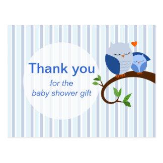 Cartão Postal Uma buzina de um obrigado azul do chá de fraldas