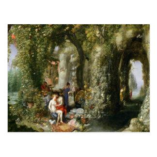 Cartão Postal Uma caverna fantástica com Odysseus e calipso