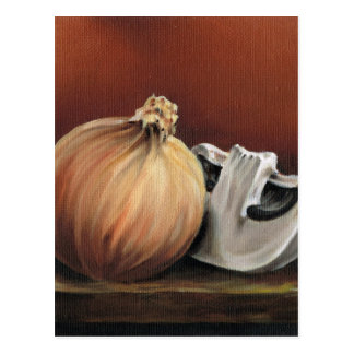 Cartão Postal Uma cebola e um cogumelo