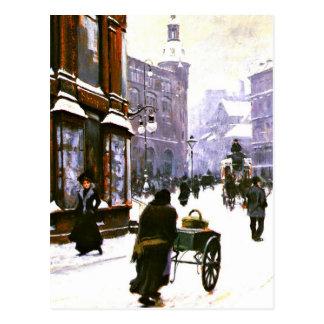 Cartão Postal Uma cena da rua no inverno, Copenhaga
