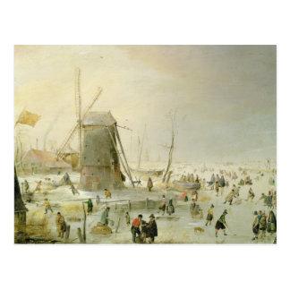 Cartão Postal Uma cena do inverno com patinadores por um moinho