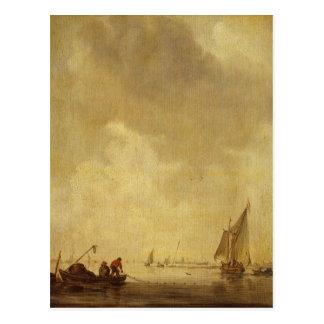 Cartão Postal Uma cena do rio, com os pescadores que colocam uma