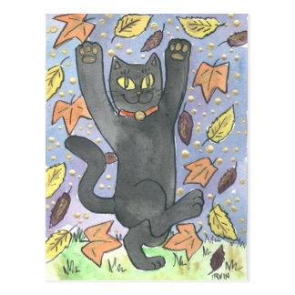 Cartão Postal Uma dança afortunada da folha do outono do