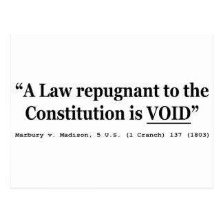 Cartão Postal Uma lei repugnante à constituição é vaga