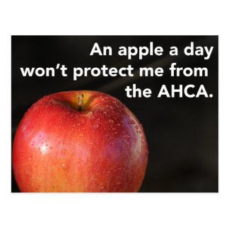 Cartão Postal Uma maçã um o dia para parar o AHCA! Cuidados