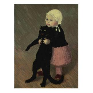 Cartão Postal Uma menina pequena com um gato, 1889