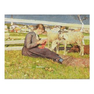 Cartão Postal Uma menina que faz malha, 1888 (óleo em canvas)