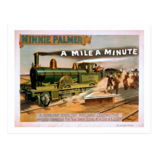 """Cartão Postal """"Uma milha"""" um teatro locomotivo grande minúsculo"""