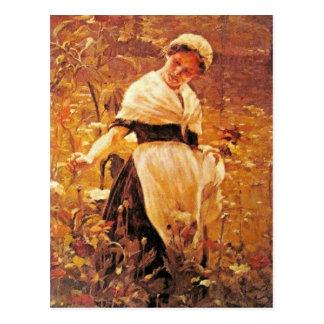Cartão Postal Uma mulher em um campo