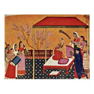 Cartão Postal Uma mulher escuta a música por Indischer Maler Um