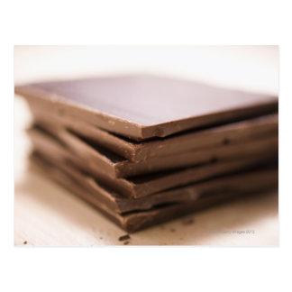 Cartão Postal Uma pilha do chocolate do padeiro pronta para ser