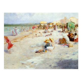 Cartão Postal Uma praia ocupada no verão